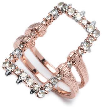 Alexis Bittar Crystal Encrusted Oversize Link Ring