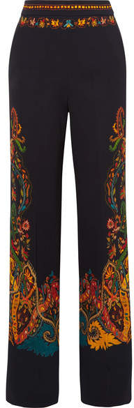 Floral-print Stretch-crepe Wide-leg Pants - Black