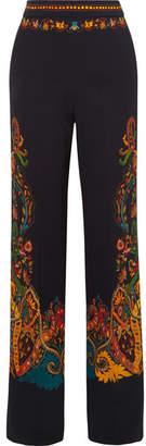 Etro Floral-print Stretch-crepe Wide-leg Pants - Black