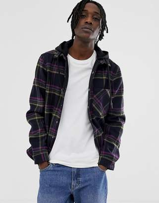Pull&Bear check over shirt with jersey hood