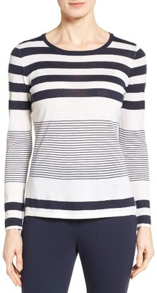 Women's Nordstrom Collection Engineered Stripe Cashmere Pullover $249 thestylecure.com