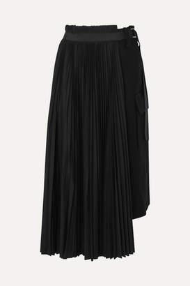 Sacai Belted Pleated Wool And Crepe Midi Skirt - Black