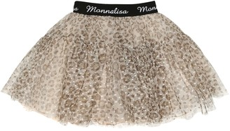 MonnaLisa Leopard-print tulle skirt