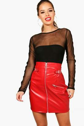 boohoo Petite Extreme High Waisted Buckle PU Skirt