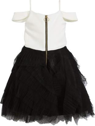 Neiman Marcus Zoe Nikki Draped-Shoulder Dress w/ Ruffle Tulle Skirt, Size 7-16