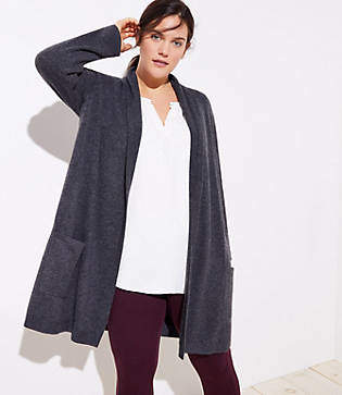 LOFT Plus Shawl Pocket Open Cardigan