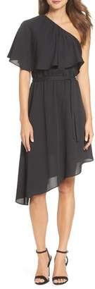 Charles Henry One-Shoulder Asymmetrical Dress