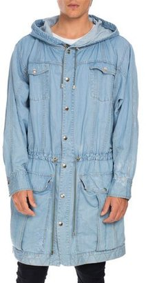 Balmain Distressed Long Denim Parka, Light Blue $2,475 thestylecure.com