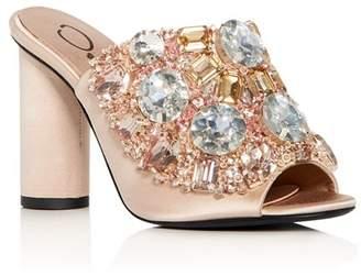 Oscar de la Renta Women's Embellished Satin High-Heel Slide Sandals