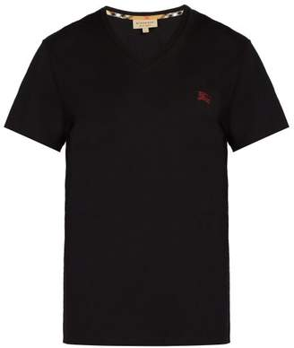 Burberry Logo Embroidered V Neck Cotton T Shirt - Mens - Black