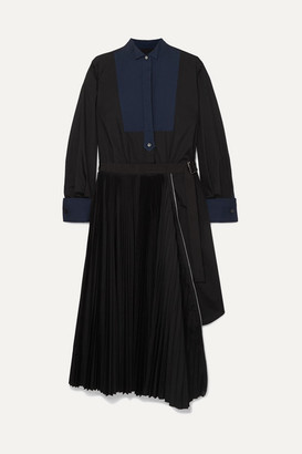 Sacai Belted Pleated Poplin And Piqué Midi Dress - Black
