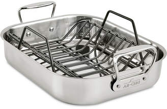 "All-Clad 11"" x 14"" Stainless Steel Roaster & Rack"