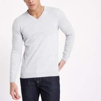 River Island Grey V neck slim fit sweater
