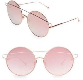 For Art's Sake For Art's Sake Women's Mykonos 60MM Round Bar Aviator Sunglasses - Pink Rose Gold