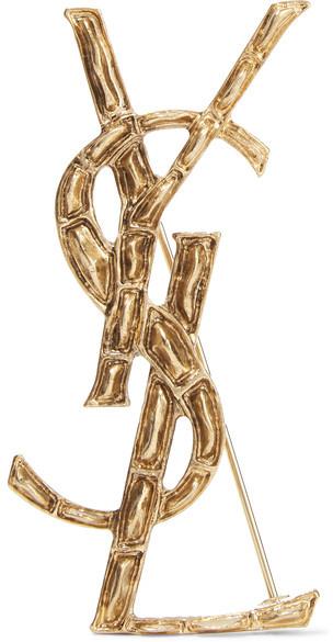 Saint LaurentSaint Laurent - Opyum Gold-plated Brooch - One size