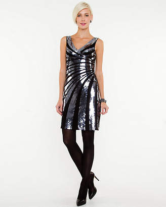 Le Château Sequin V-Neck Cocktail Dress