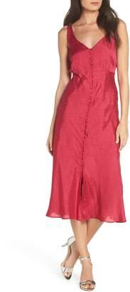 NSR Eva Button Front Midi Dress