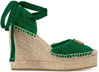 Gucci Crochet platform espadrille