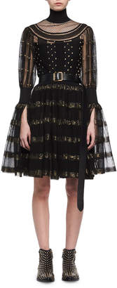 Alexander McQueen Metallic-Striped Lace Cocktail Dress, Black/Gold