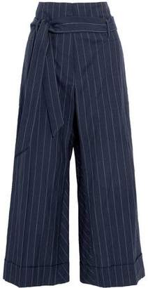 Brunello Cucinelli Cropped Pinstriped Wool And Linen-Blend Canvas Wide-Leg Pants