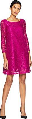 Tahari by Arthur S. Levine Women's Long Sleeve LACE Shift Dress with Ribbon Bow in Back