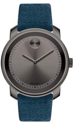 Movado Bold Suede Strap Watch, 42mm