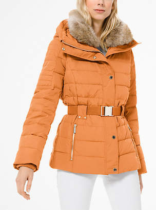 Michael Kors Quilted Down And Faux Fur Puffer Jacket