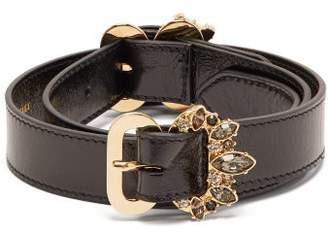 Erdem Crystal Embellished Double Buckle Leather Belt - Womens - Black