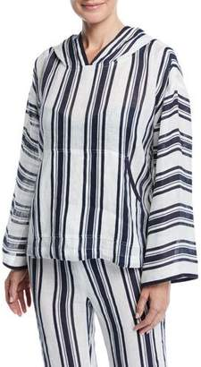 Tory Burch Awning Stripe Linen Coverup Hoodie