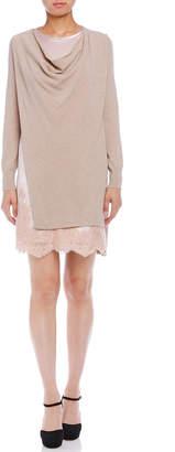 Blumarine (ブルマリン) - Blumarine カシミヤ混 ニットx布帛 レイヤードデザイン 長袖ドレス ベージュ 38