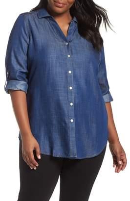 Foxcroft Roll Sleeve Chambray Shaped Shirt