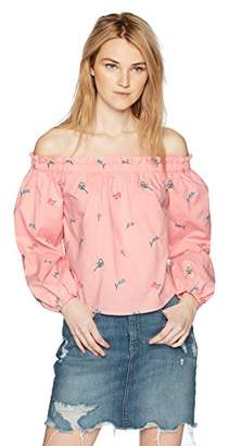 Bardot Hayden Rose Young Women's Teen Long Sleeve Off- Shoulder Blouse With Ruffle