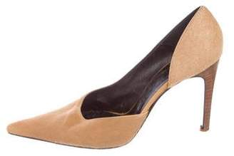 Versace Pony Hair Pointed-Toe Pumps