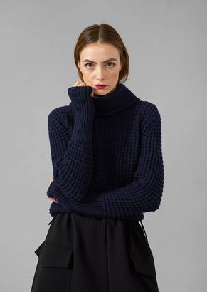 Giorgio Armani Turtleneck In Drop Knit Virgin Wool And Cashmere