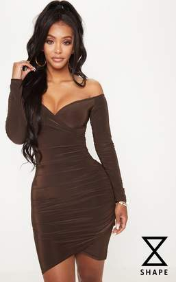 PrettyLittleThing Shape Burgundy Slinky Ruched Detail Bardot Dress