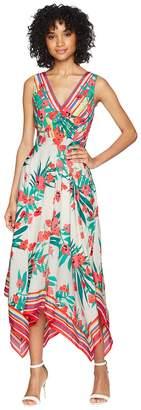 Vince Camuto Printed Handkerchief Hem V-Neck Dress Women's Dress