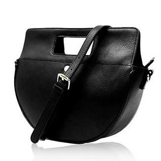 The Lovely Tote Co. Women's Genuine Leather Half Moon Crossbody Bag Cowhide Satchel Handbag