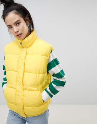Pull&Bear padded vest in yellow
