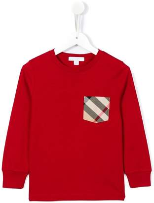 Burberry Long-sleeve Check Pocket Cotton T-shirt