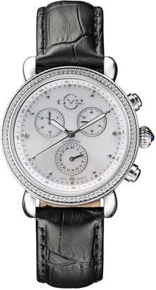 Gv2 Swiss Quartz Chronograph Marsala Black Diamond Leather Strap Watch