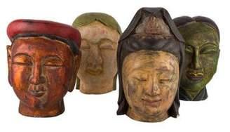 Set of 4 Wood Buddha Heads