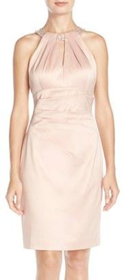 Women's Eliza J Embellished Neck Sheath Dress $168 thestylecure.com