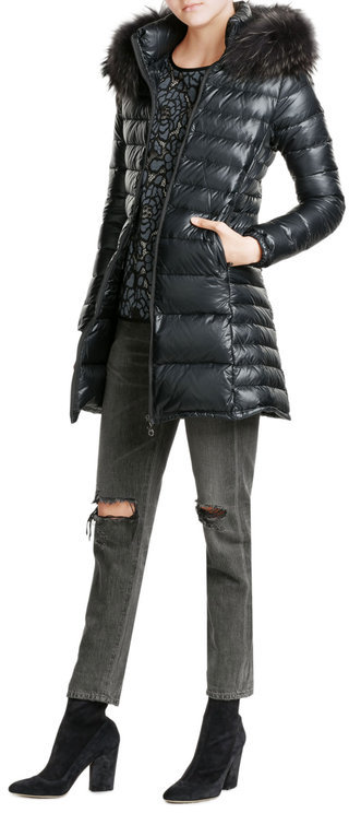 Duvetica Duvetica Quilted Down Jacket with Fur Trim