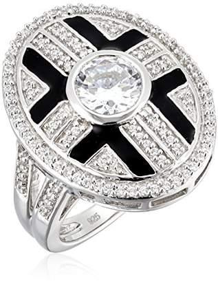 Swarovski Sterling Silver Zirconia Round Shape In Bezel Setting With Black Enamel Fashion Ring
