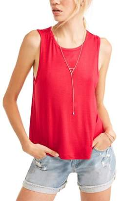 No Comment Juniors' Keyhole Back Tank w/ Necklace 2Fer