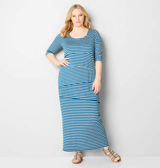 Avenue Stripe Tiered Maxi Dress