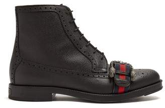 Gucci - Web Strapped Leather Boots - Mens - Black Multi