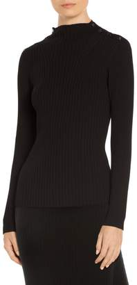 St. John Flat Rib Knit Mock Neck Sweater