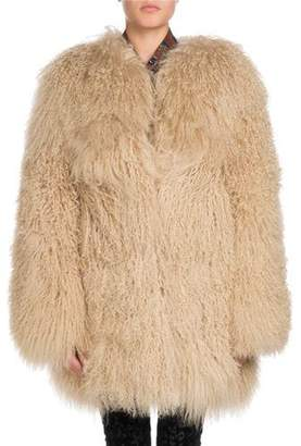 Saint Laurent Long Hair Mongolian Goat 3/4-Length Coat