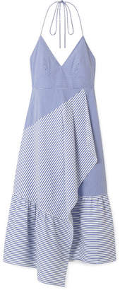 Tibi Striped Cotton-blend Poplin Halterneck Dress - Blue